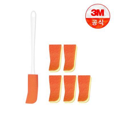 [3M]스테인레스/유리병용 보틀 수세미(핸들 1입+리필 1입)+리필 1입 5개