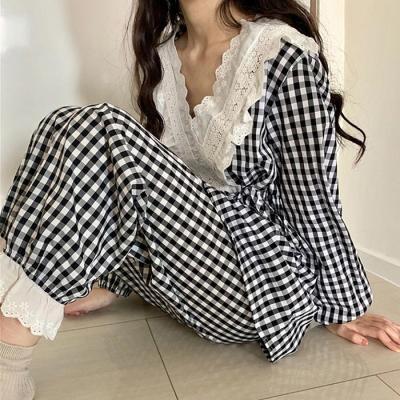 레이스체크 파자마 여성잠옷 세트 CH1506944