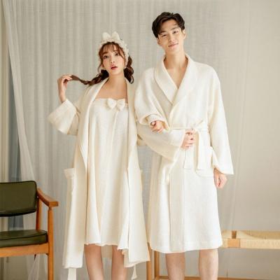 [쿠비카]모달 와플 2컬러 로브가운 커플잠옷 WM241