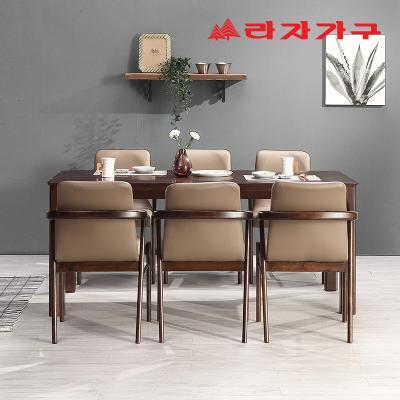 미농 고무나무 원목 식탁 세트 6인용 의자형 A