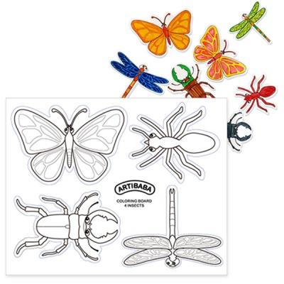 [아티바바] 곤충 4종 색칠보드/색칠 공부 칼라링북