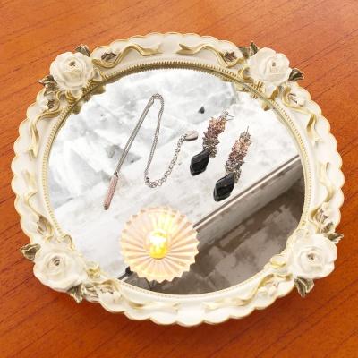 크림 로즈 원형 거울