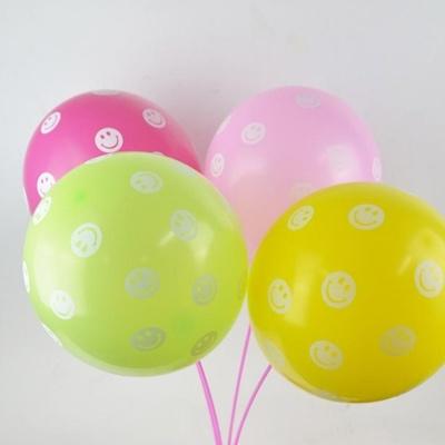 생일 파티 행사 이벤트 용품 LED 스마일 인쇄 풍선 4p