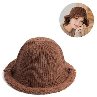 가을 겨울 성인 여성용 모던 브라운 니트 벙거지 모자