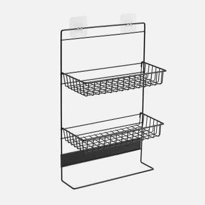 냉장고걸이 2단 스틸 수납선반(블랙) 주방 틈새선반