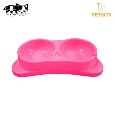 펫츠코 각도 쌍식기 (핑크) (애완용 식기)