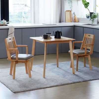 [리비니아]캔버 노블암회전의자 2인 원목식탁세트