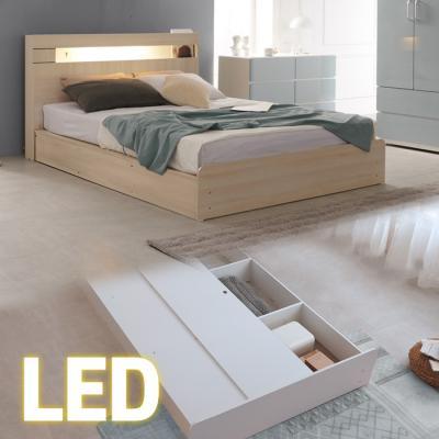 LED조명+콘센트 침대 Q (양면매트) 넉다운평상 KC184
