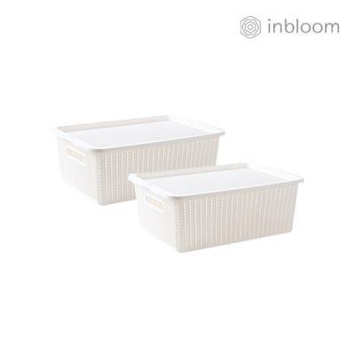 인블룸 1+1세트 커버 라탄 리빙박스 중형 아이보리