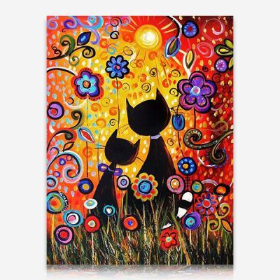 꽃밭의 고양이 연인 DIY 보석십자수 십자수 비즈세트