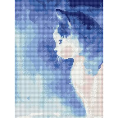 푸른빛 고양이 (캔버스형) 보석십자수 30x40