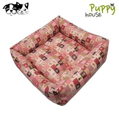 퍼피하우스 플래드 정사각 강아지 방석 (핑크)