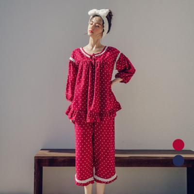 [쿠비카]도트 순면 투피스 7부 여성잠옷 W451