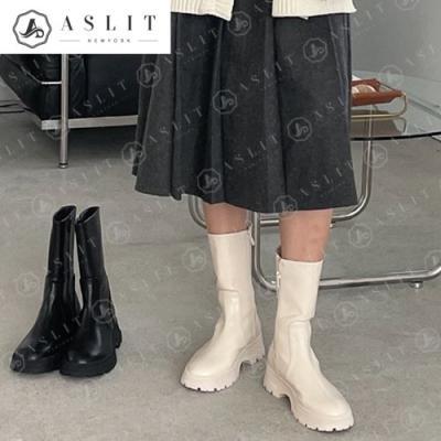 [애슬릿]여성 라운드토 통굽 지퍼 앵클 부츠 4.5cm