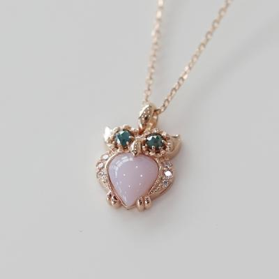 14K 오팔 핑크 부엉이 목걸이