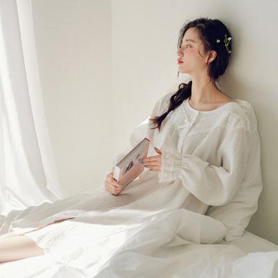 [쿠비카]소매 밴딩 이중지 원피스 여성잠옷 W437
