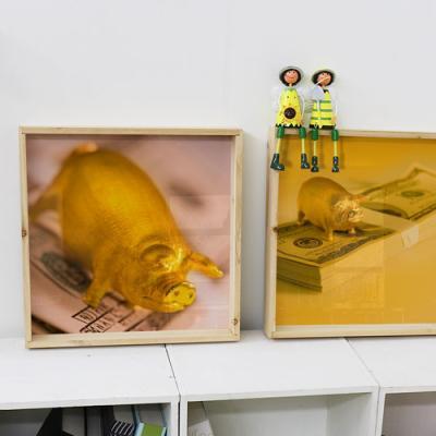 tf870-우드프레임액자_돈과황금돼지