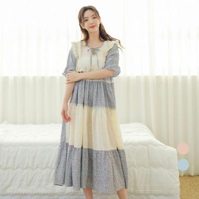 [쿠비카]플로랄 자수 면 캉캉 롱 원피스 잠옷 W603