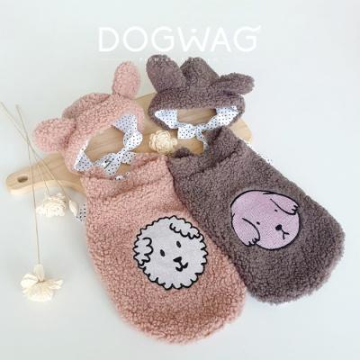 뽀글이 조끼 모자 세트 강아지 겨울 옷