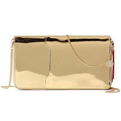 Thomas Glittery Leather Zip Organizer With Chain_Gold