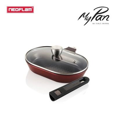 네오플램 마이팬 후라이팬 3p 세트 (피쉬팬 28cm+유리뚜껑+매직핸즈 손잡이)