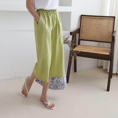 Linen Banding Wide Pants - 7부바지