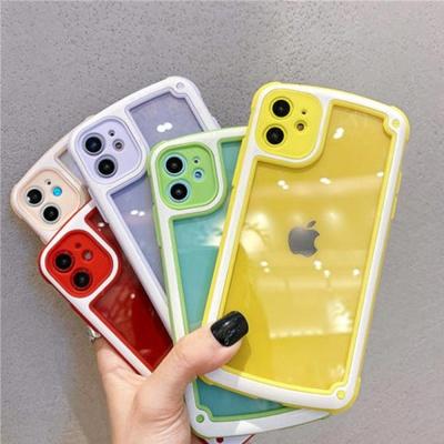 아이폰11 프로 맥스/렌즈보호 컬러 투명 젤하드케이스