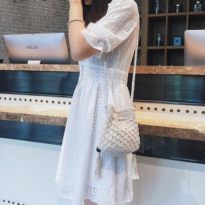 여름 니트 뜨개 복조리백 왕골 버킷 크로스 여성 가방