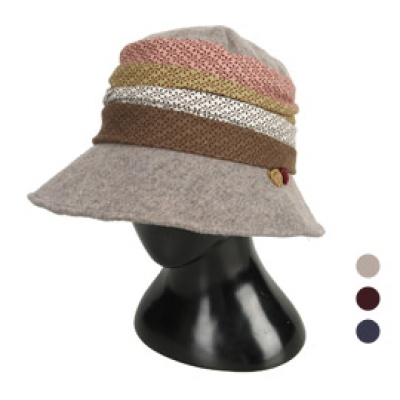 [디꾸보]행거치프 배색장식 버킷햇 모자 AC662