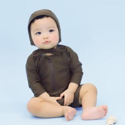 [메르베] 멜로우 스윔슈트 브라운 신생아 아기 수영복