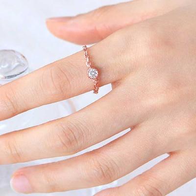 Mujer bonita Rings 베릴 로즈골드 체인 반지