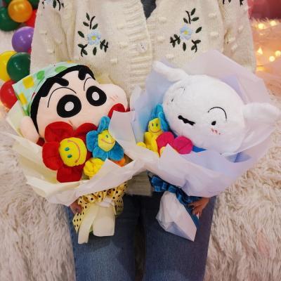 짱구 흰둥이 인형 꽃다발 생일 여자친구 졸업 선물