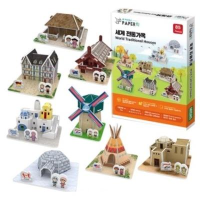 3D 입체퍼즐 종이퍼즐 미니어처 세계 전통가옥 8종