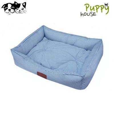 퍼피하우스 사각방석 스트라이프 (블루)(강아지 방석)