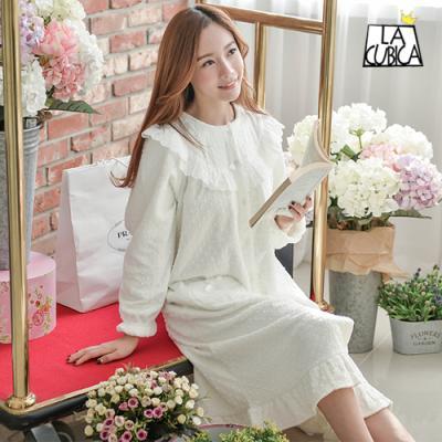 [쿠비카]여성잠옷 레이스 엠보 극세사 원피스 BNBR-W719