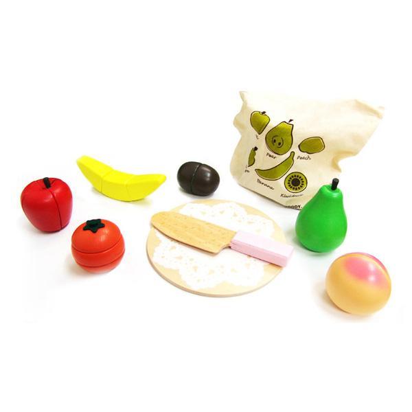 [무료배송][DASOL]원목자석 과일썰기세트(보관주머니)