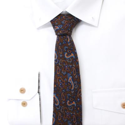페르시아 클래식 페이즐리 브라운 울실크 넥타이