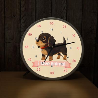 ng191-LED시계액자35R_귀여운아기강아지