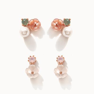 제이로렌 06M02874 로즈골드 미니자개꽃 귀걸이