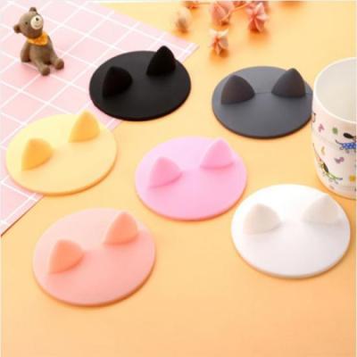 실리콘 고양이모양 컵 덮개 1개(색상랜덤)