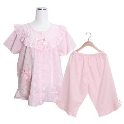 [쿠비카]레이스 자수 플라워 핑크 투피스 잠옷 W049