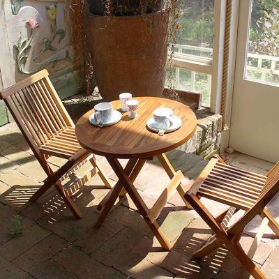 티크 원목 테이블+체어 2p 세트 정원용 야외용 카페용