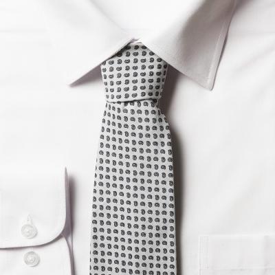 남자 페이즐리 아이보리 면 넥타이