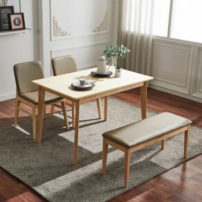 유럽형 고무나무 4인식탁+벤치+의자 세트 FN701-7