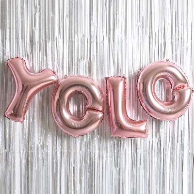 은박풍선 커튼세트 (YOLO) 로즈골드