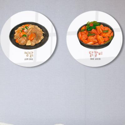 ts593-원형아크릴액자_닭요리스케치