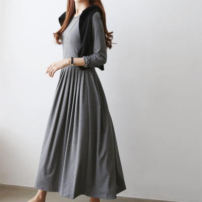 Easy Pleated Long Dress - 긴팔