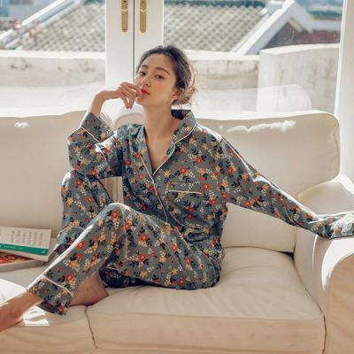 [쿠비카]터치감 플라워 투피스 카라넥 여성잠옷 W426