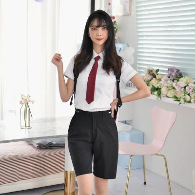 [허리조절] 스판 블랙 교복 반바지(여자)