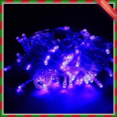 NEW 100구 투명선 LED 남색전구(8M) (점멸有) (연결가
